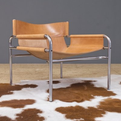 Walter Antonis SZ14 lounge chair in saddle leather by 't Spectrum, 1970s