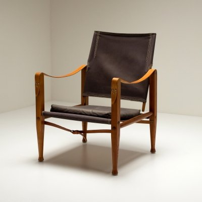 Brown Canvas Kaare Klint Safari Chair, Denmark 1960s