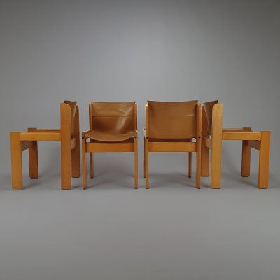 Set of 4 Leather Ibisco Dining Chairs, Italy 1970s