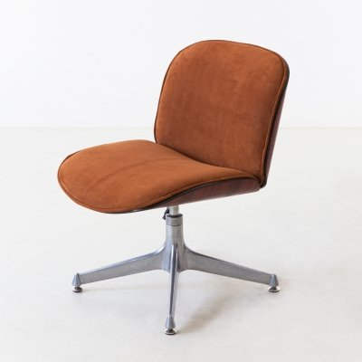 1950s Rosewood & Suede Leather Desk Chair by Ico Parisi for MIM