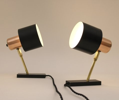 Pair of 'Alfa' wall lamps in copper designed by Jo Hammerborg for Fog & Morup, 1960s