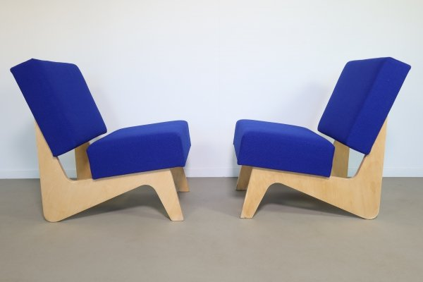 Rare set of plywood Combex FB 03 easy chairs by Cees Braakman for Pastoe, 1950s