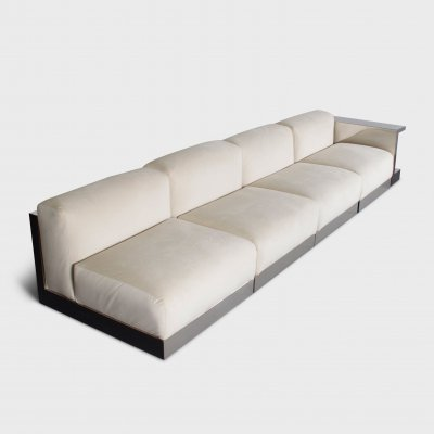 Italian Sectional Sofa in polished Steel & Velours by Cassina, 1970s
