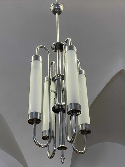 Chrome Bauhaus tubular chandelier, 1930s