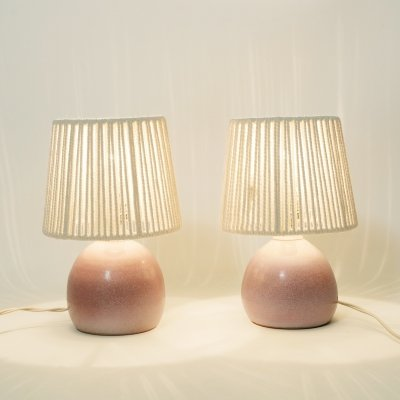 Pair of little bedside lamps in ceramics & rope, 1970s