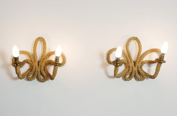 Pair of French rope wall lamps, 1950-1960