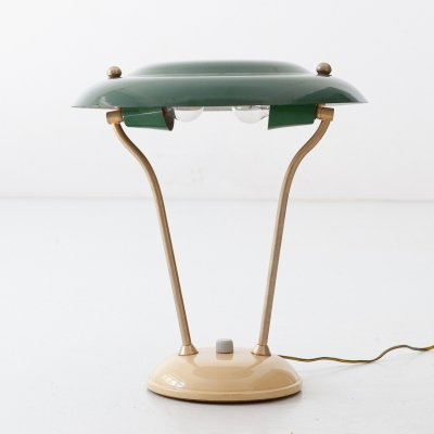 1950s Italian Green & Cream Table Lamp