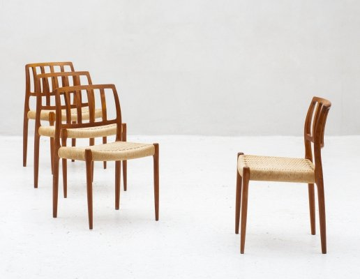 Set of 4 dining chairs 'model 83' by Niels Otto Moller, Denmark 1960