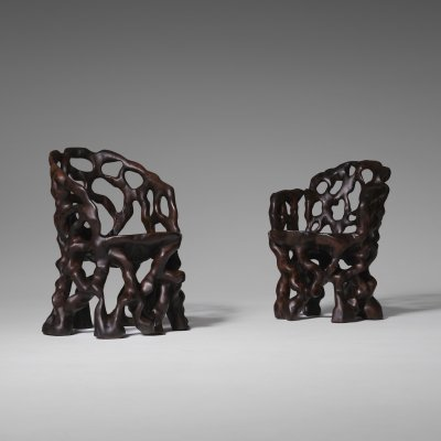 Sculptural Carved Wooden Tree trunk chairs, 1970s
