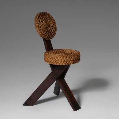 Audoux & Minet Wood & Rush Side Chair, France ca. 1960