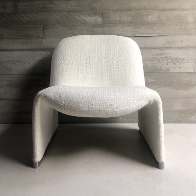 Alky chair in white bouclé by Giancarlo Piretti for Castelli & later Artifort, 1970s