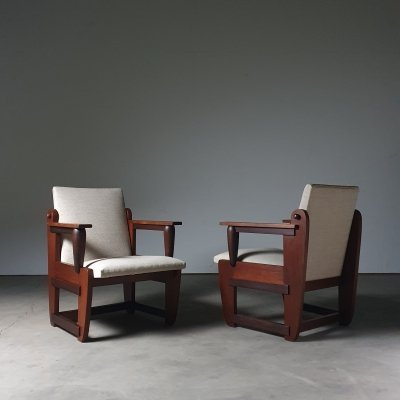 Unusual set of 1920s 'Amsterdamse School' chairs