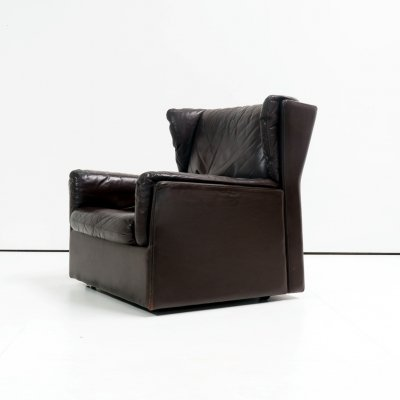 Midcentury leather wingback clubchair, 1970's