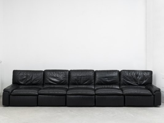 Leather 5-seater modular sofa by Miù, 1970s