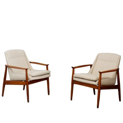 Pair of Swedish Cotton Design Armchairs, 1950s