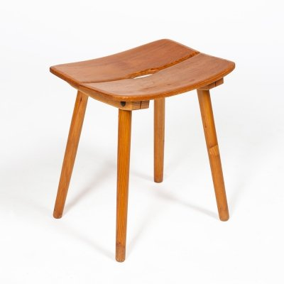 Classic swiss stool in solid wood designed by Jacob Müller