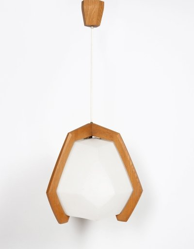 Pendant lamp in ash & plexiglass by Rudolf Dörfler, 1950s