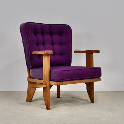 Armchair by Guillerme et Chambron, 1950s