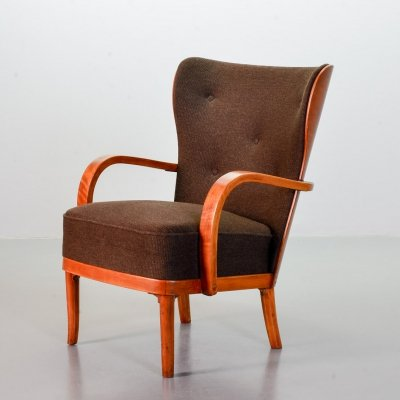 Wingback club lounge chair in brown fabric & plywood, Scandinavia 1950s