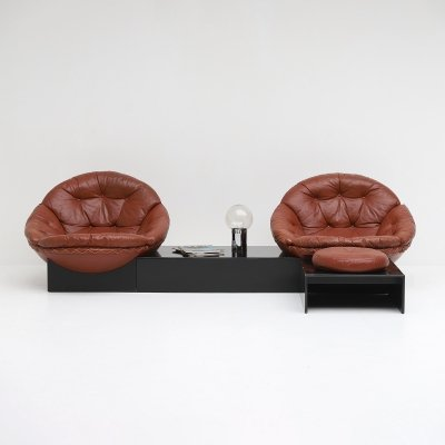 Leather Lounge Chair set by Illum Wikkelso for Ryesberg Mobler, 1970s