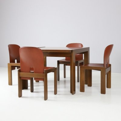 Cognac leather & walnut dining set by Afra & Tobia Scarpa for Cassina, 1965
