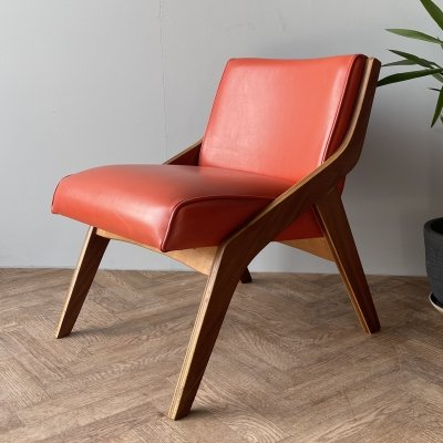 Morris Of Glasgow mid century lounge chair seat with orange upholstery