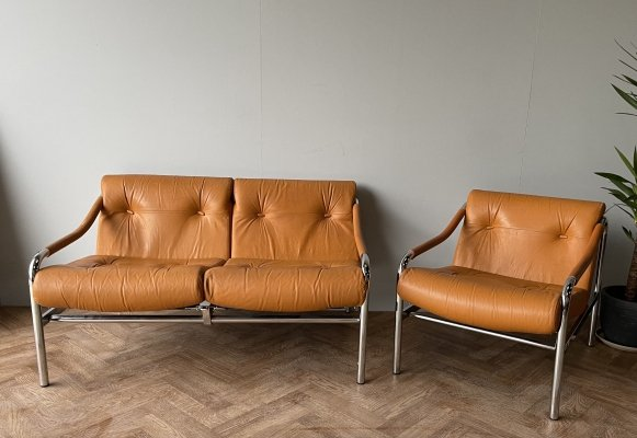 Tim Bates for Pieff vintage 'Kadia' 2 seater sofa & armchair in chrome & leather