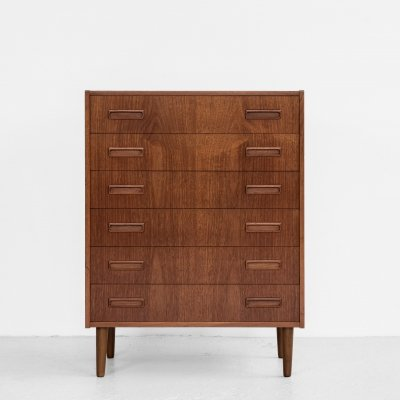 Midcentury Danish chest of 6 drawers in teak by Westergaard, 1960s