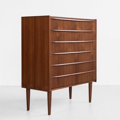 Midcentury Danish chest of 6 drawers in teak with long drawer handle