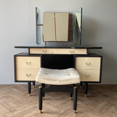 G Plan rare dressing table with mirrors & stool, 1950s