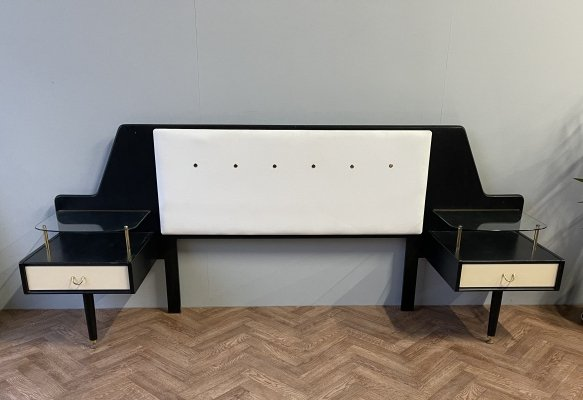 G Plan rare double bed headboard with bedside tables, 1950's
