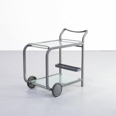80s Postmodern metal & glass serving trolley