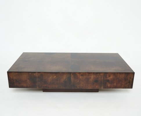 Rare goatskin parchment coffee table by Aldo Tura, 1960s