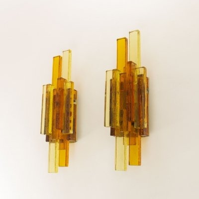 Pair of glass wall lamps by Svend Aage Holm Sørensen
