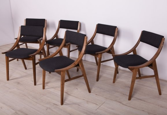 Set of 6 Polish Ski Jumper Dining Chairs from Zamojska Furniture Factory, 1970s