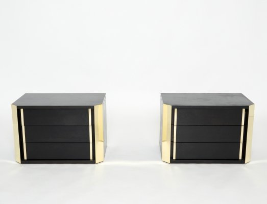 Pair of Italian Night Stands in black tinted wood & brass, 1970s