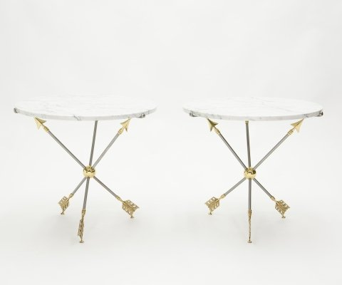 Pair of Neoclassical Maison Jansen brass marble arrows gueridon tables, 1970s