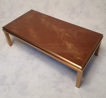 Brass & Glass Coffee Table from Maison Jansen, 1970s