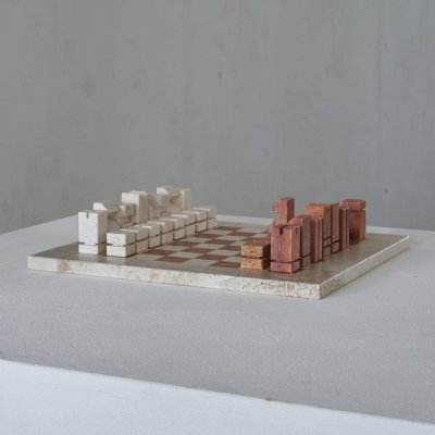 Modernist Game of Chess in Red & White Travertine, 1970s