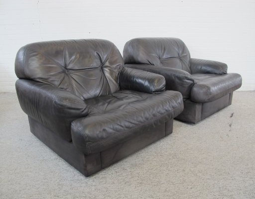 Pair of vintage Black Leather lounge chairs, 1970s