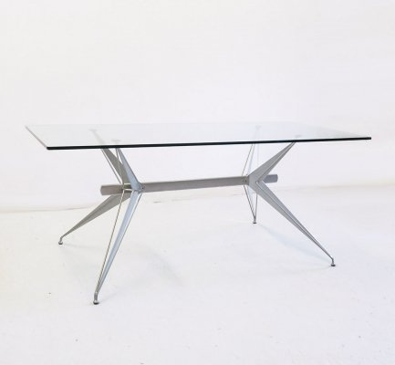 Italian design glass & metal 'T/38' dining table by Studio Archirivolto for Fasem, 1980's