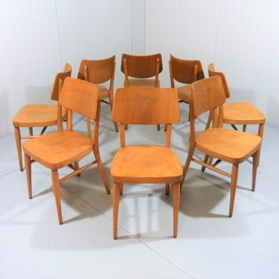 Set of 8 wooden dining chairs, 1950's