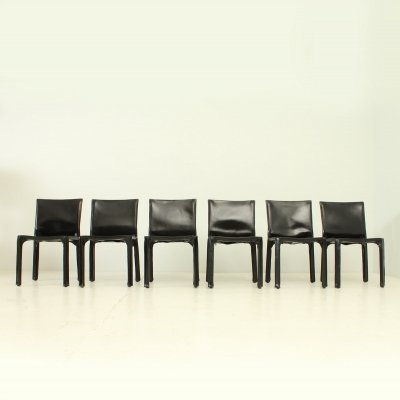 Set of 6 Cab Chairs by Mario Bellini in Black Leather, 1970s