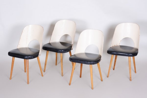Set of 4 Black & White Beech Chairs by Oswald Haerdtl, 1950s