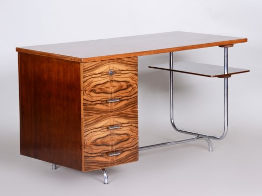 Art Deco Oak, Walnut & Chrome Writing Desk by Jindrich Halabala, 1930s