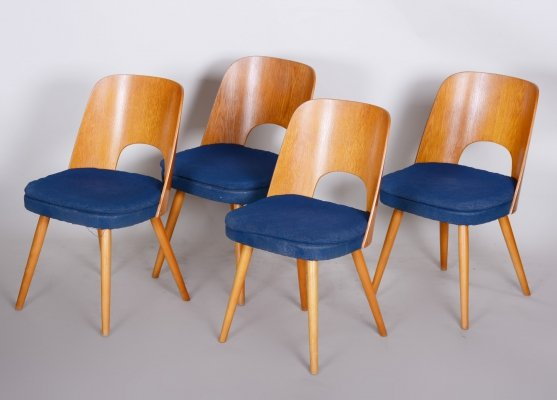 Set of 4 Czech Brown & Blue Ash Chairs by Oswald Haerdtl, 1950s