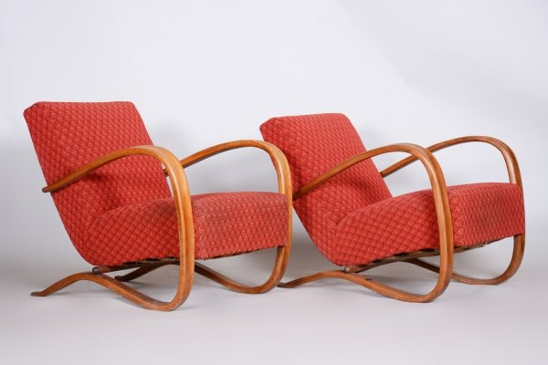 Pair of Red Art Deco Beech H-269 Armchairs by Jindrich Halabala, Czechoslovakia 1930s