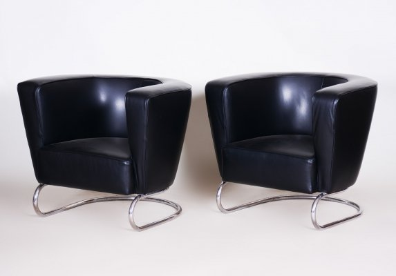 Pair of Black Art Deco Armchairs by Jindrich Halabala, Czechoslovakia 1930s
