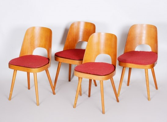 Set of 4 Czech Brown & Red Beech Chairs by Oswald Haerdtl, 1950s