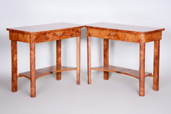 Art Deco Pair of Brown Elm Side Tables, Czechia 1920s